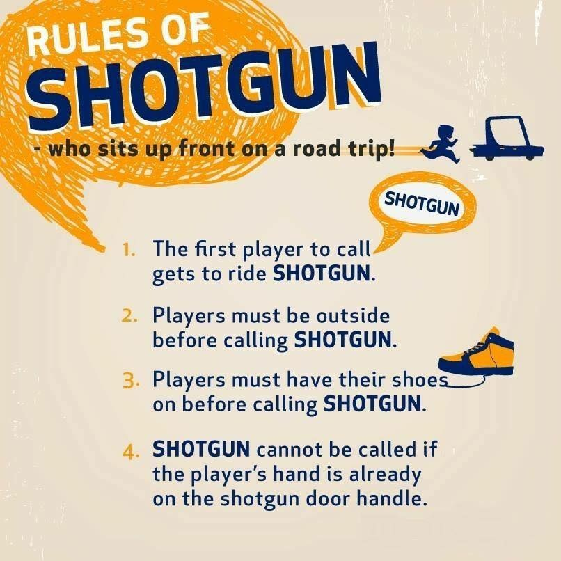 The Official Rules of ShotGun on your next RoadTrip